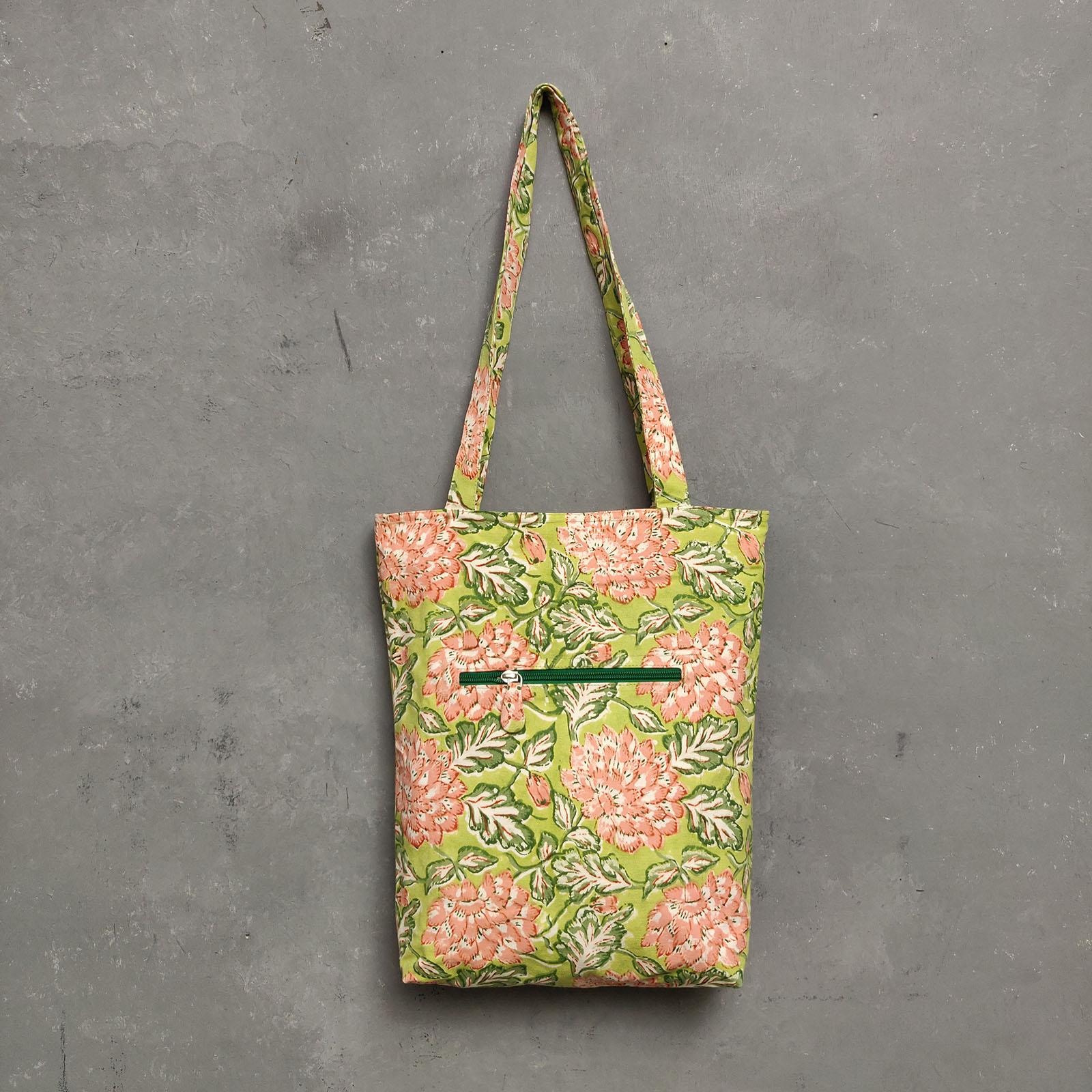 Handblock Printed Medium Canvas Tote Bag MCTB22