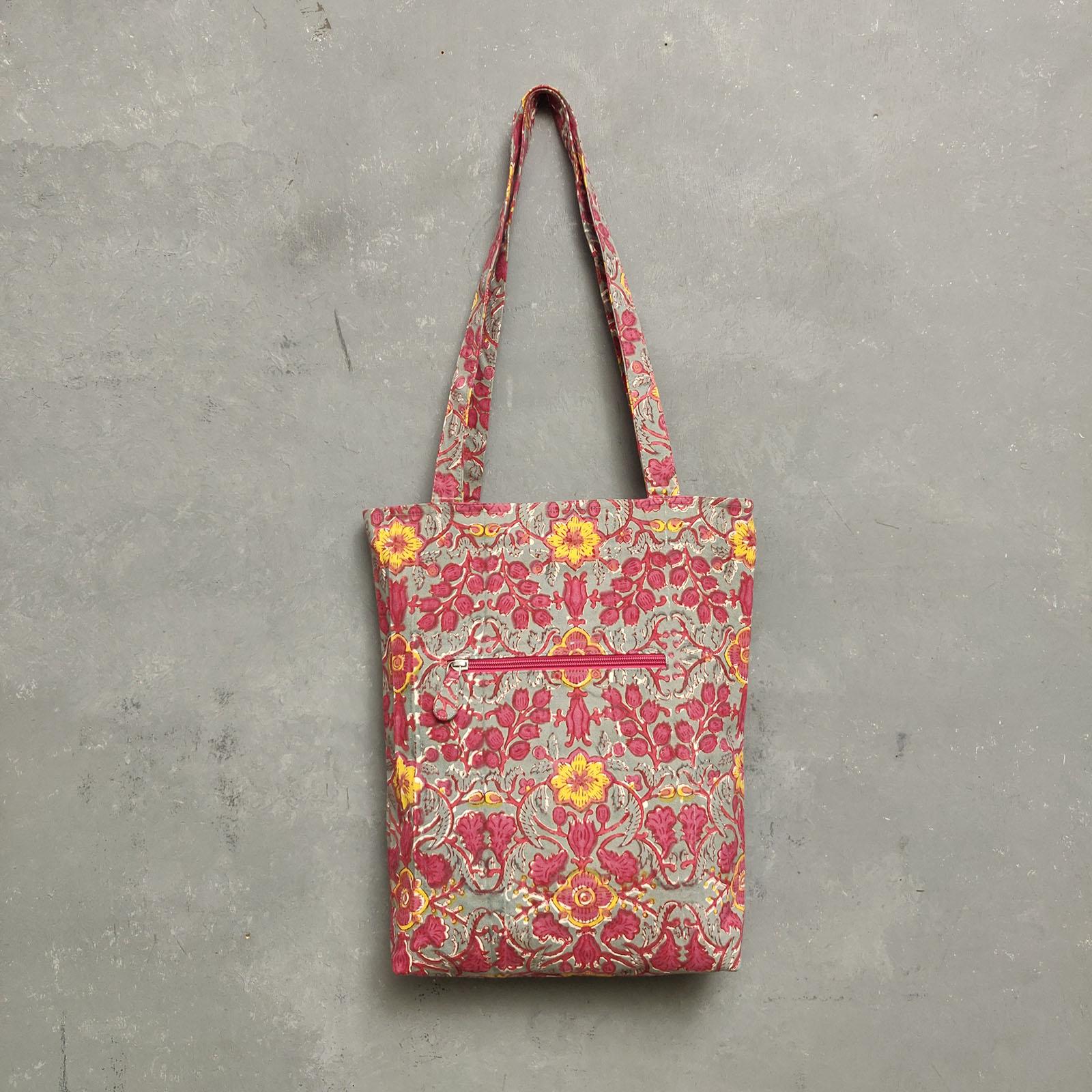 Handblock Printed Medium Canvas Tote Bag MCTB25
