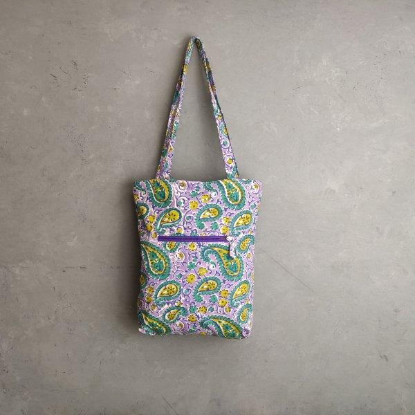 Light Purple Paisley Print Medium Canvas Tote Bag
