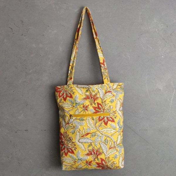 Yellow Floral Medium Canvas Tote Bag