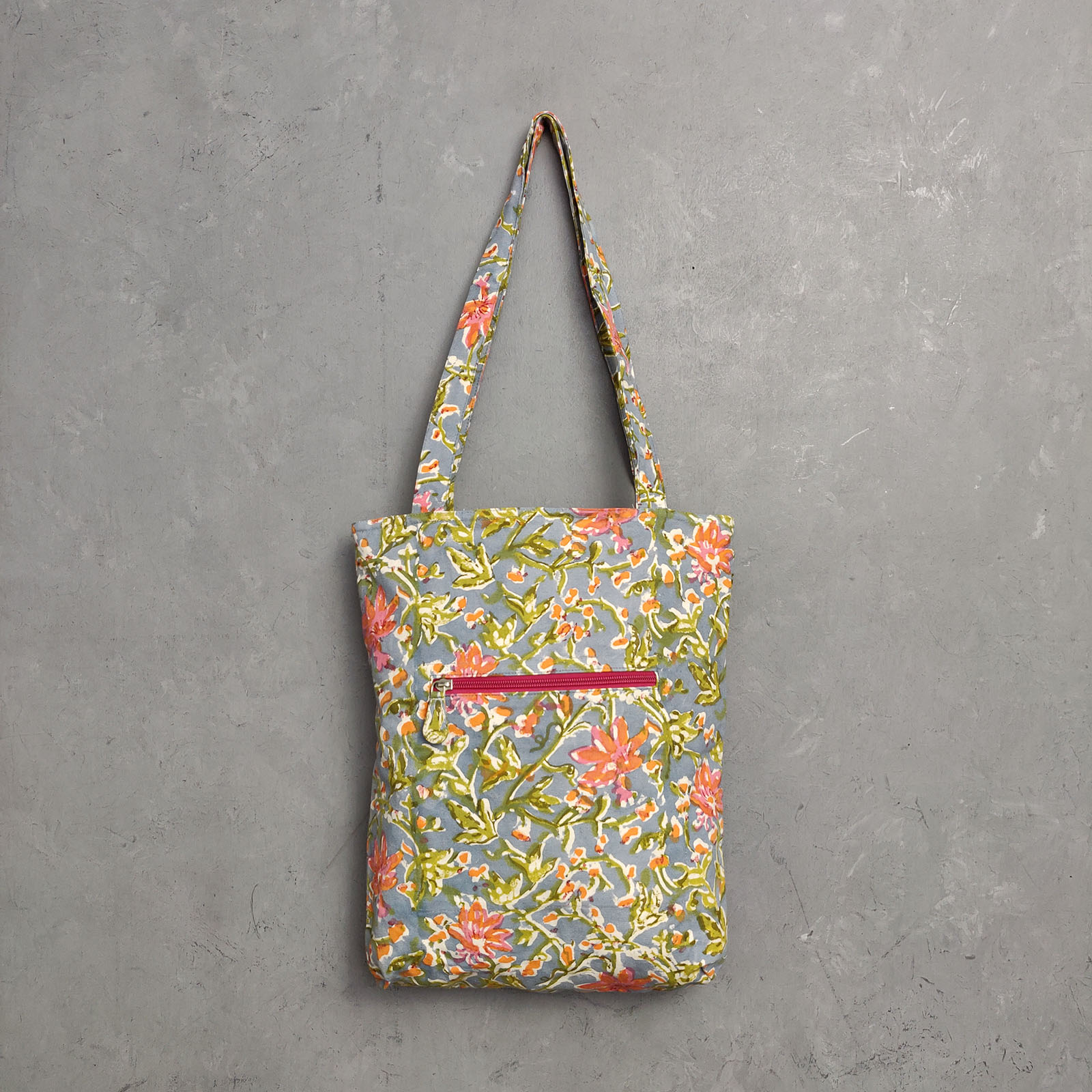 Handblock Printed Medium Canvas Tote Bag MCTB8