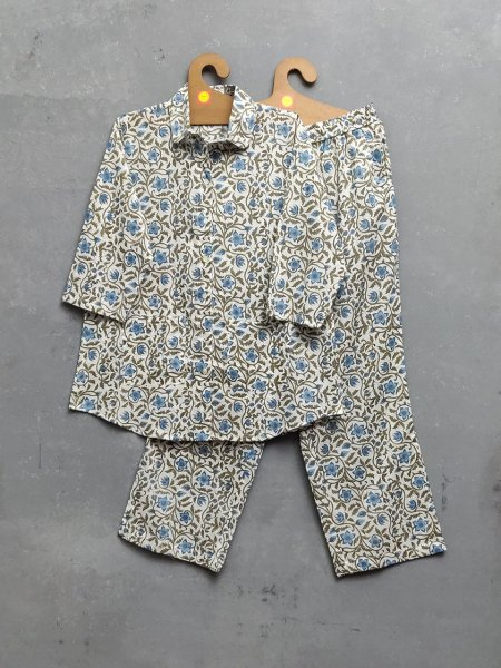 Floral Grey Leaves Night Suit