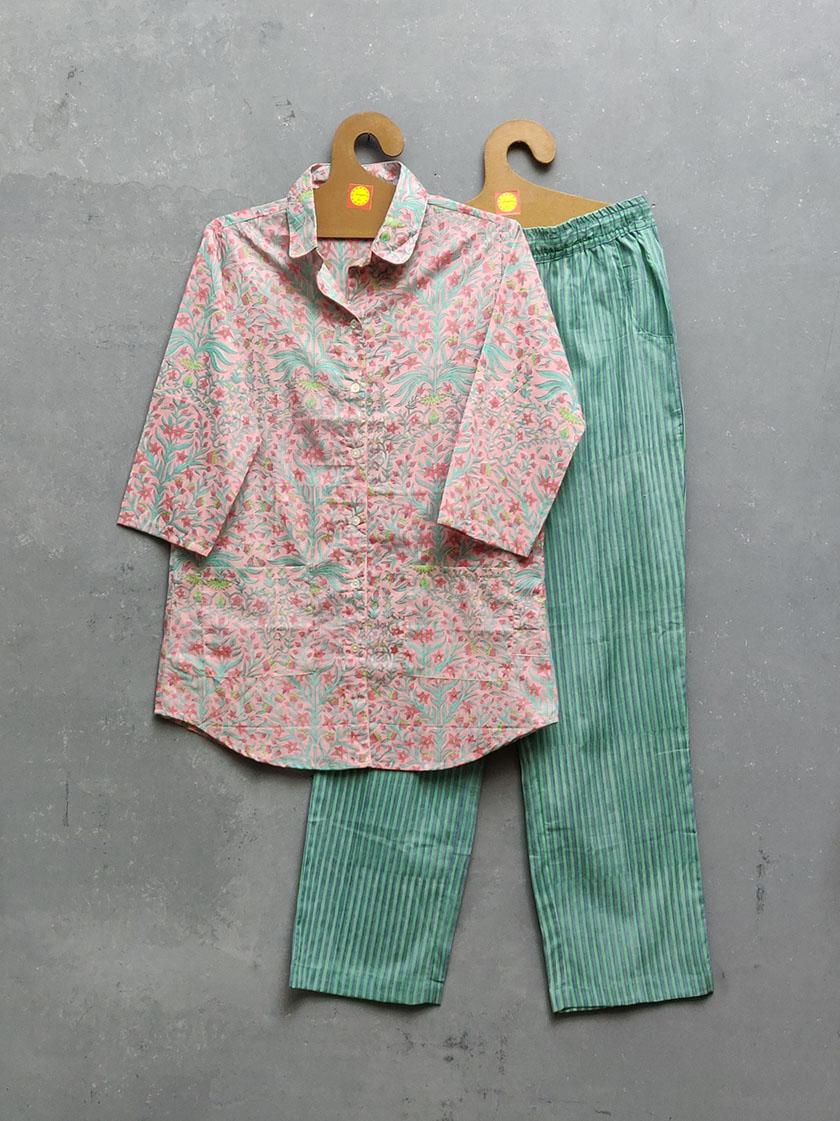 Cotton Handblock Print Night Suits WNS262
