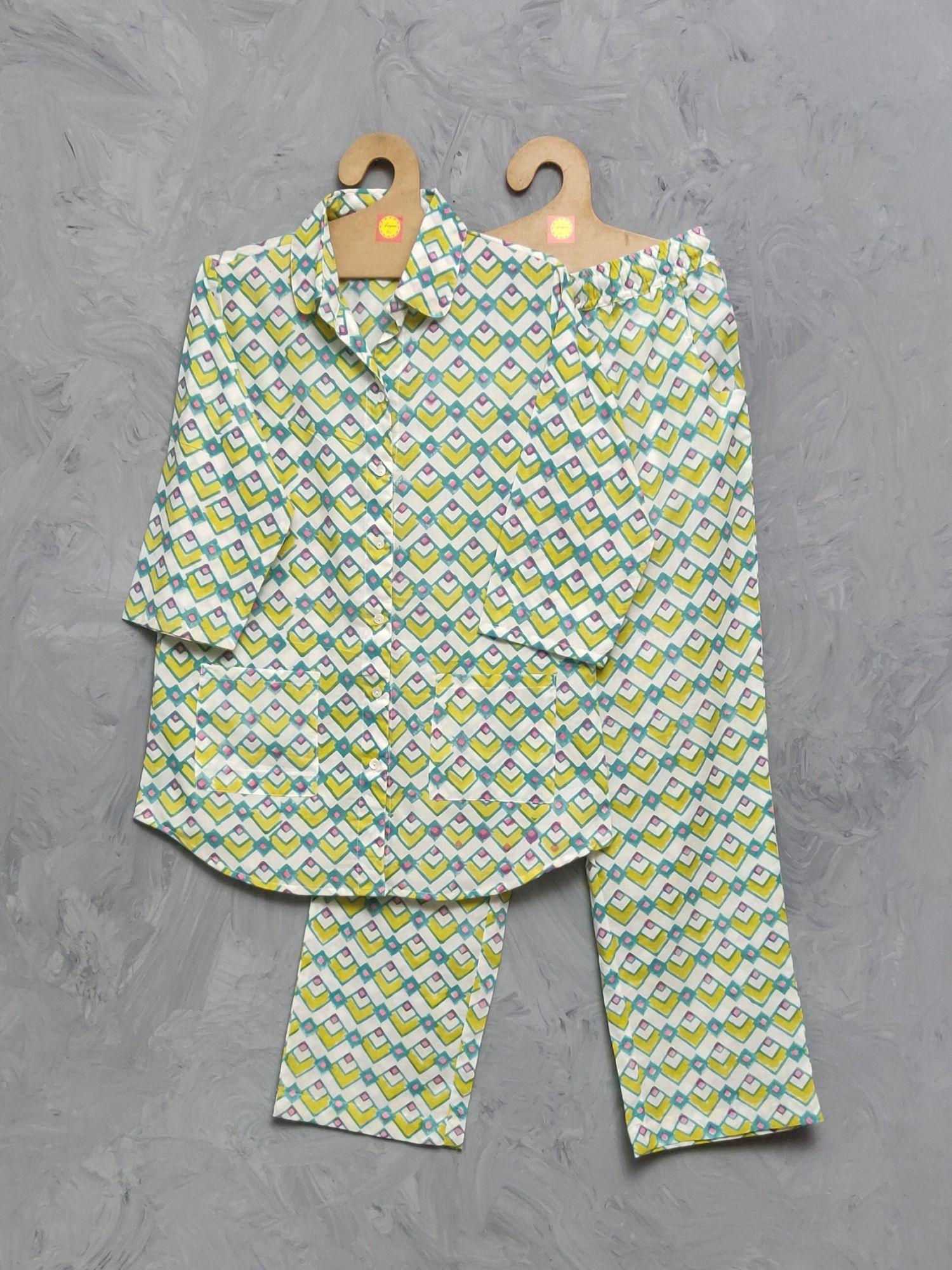 Cotton Handblock Print Night Suits WNS348