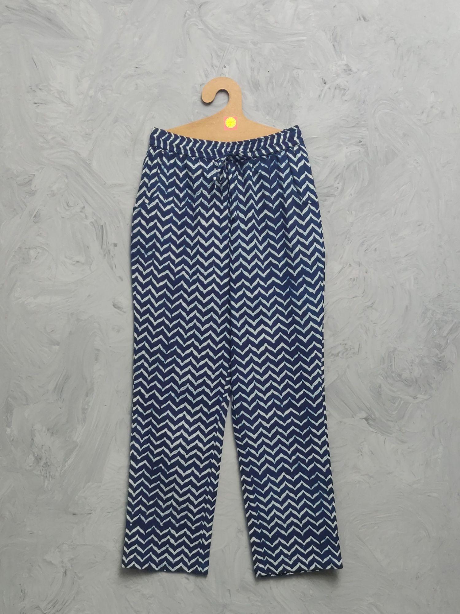 Indigo Cotton Handblock Print Night Suits WNS473