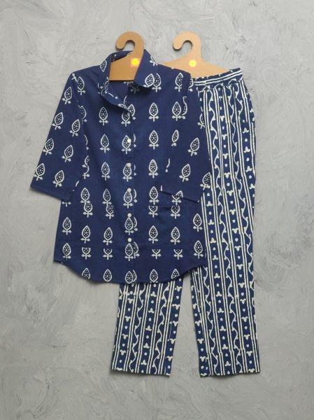 Indigo Cotton Handblock Print Night Suits WNS474
