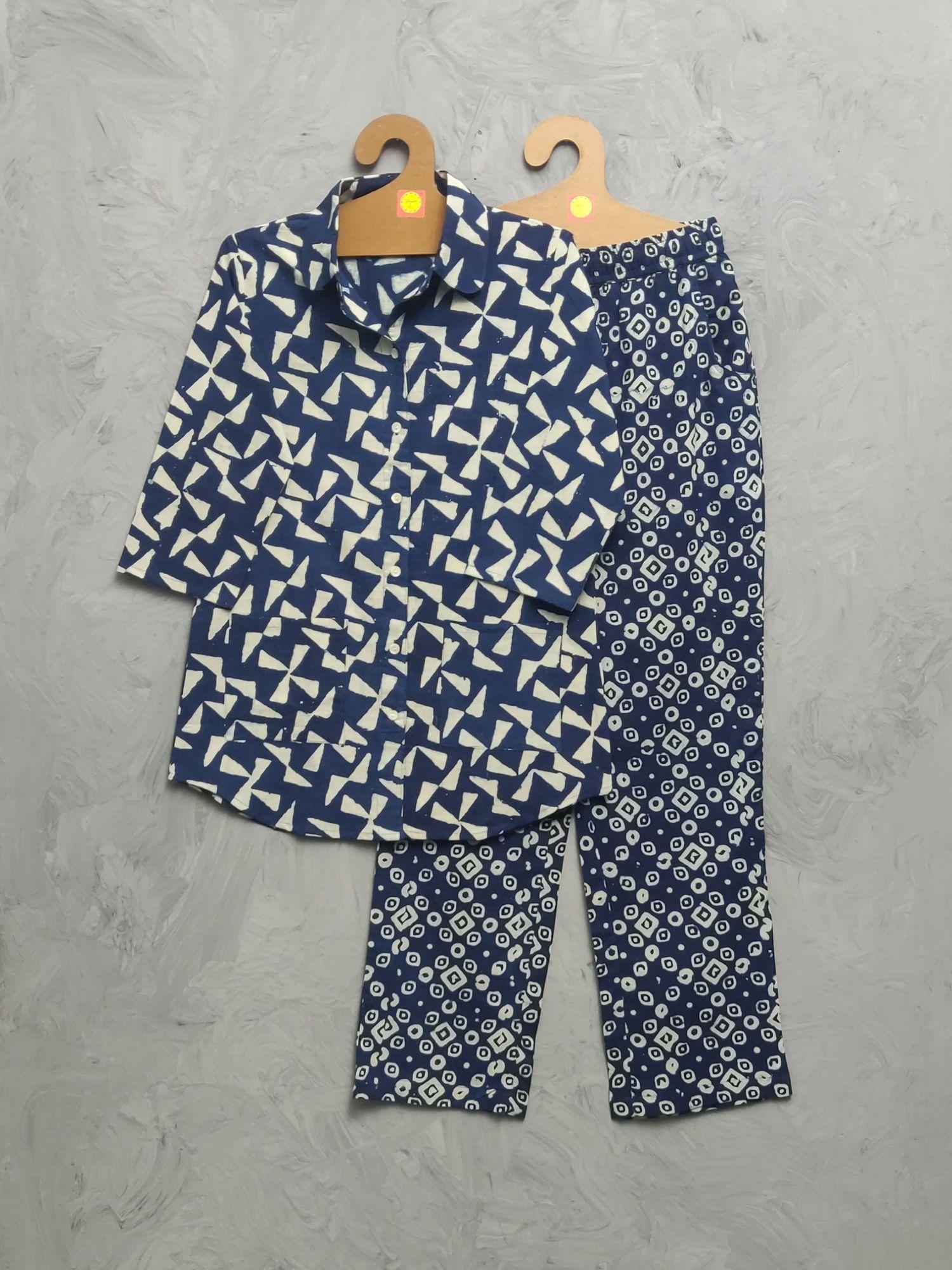 Indigo Cotton Handblock Print Night Suits WNS475