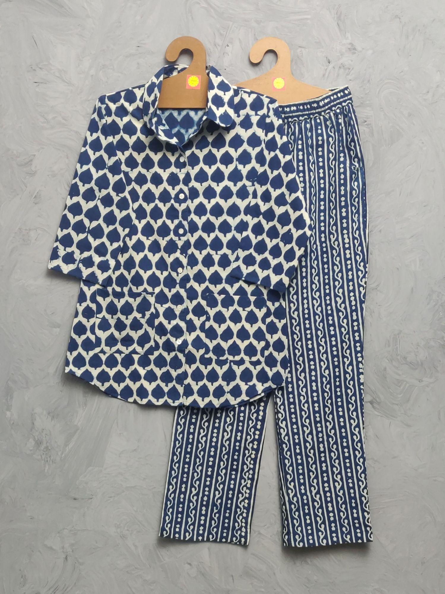 Indigo Cotton Handblock Print Night Suits WNS481