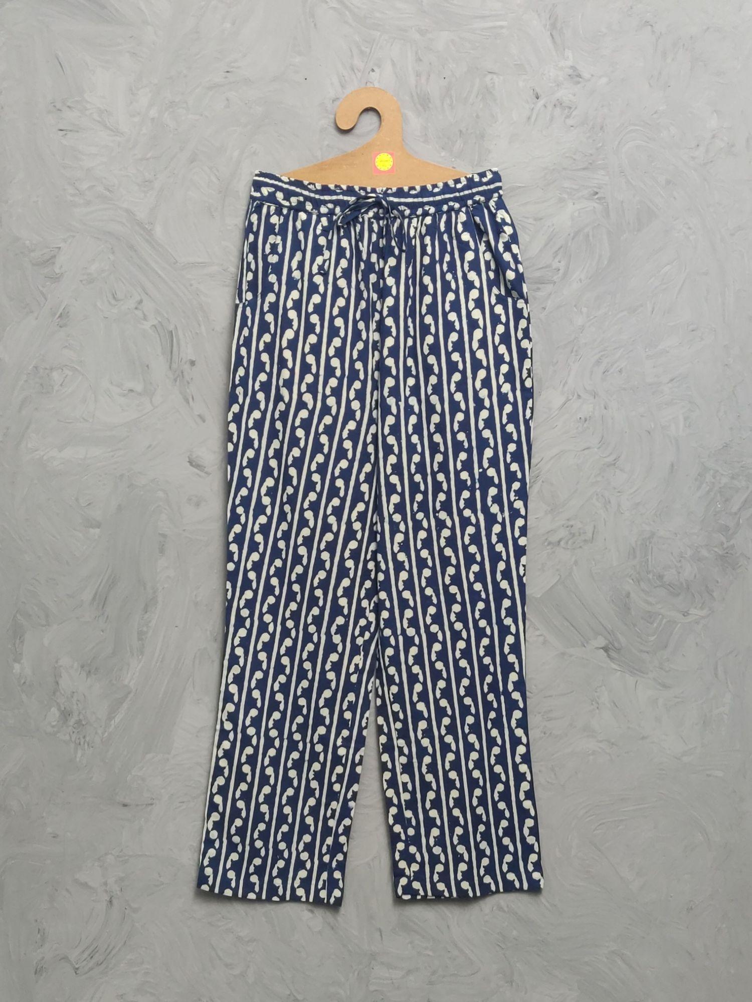 Indigo Cotton Handblock Print Night Suits WNS482