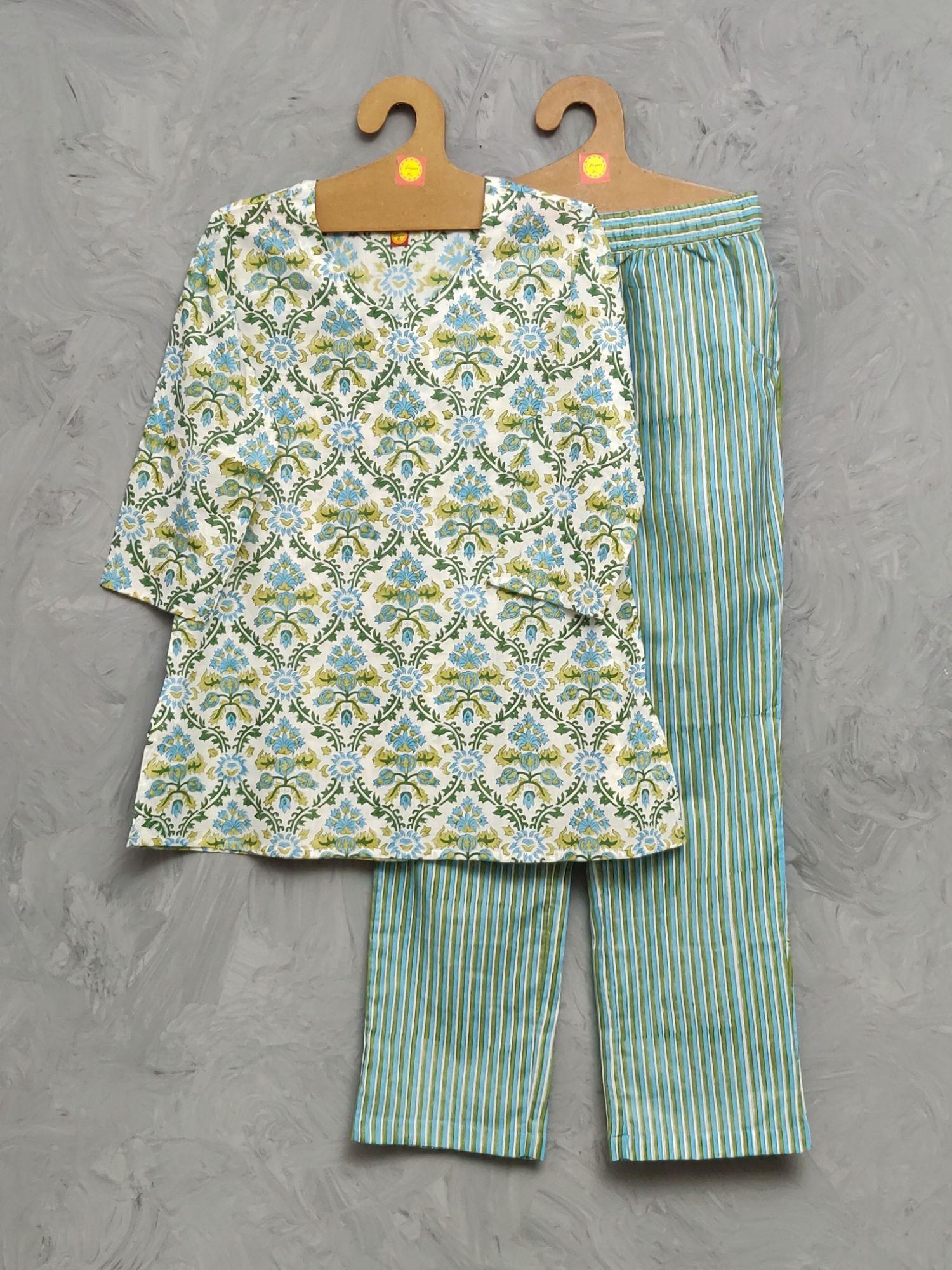 Cotton Handblock Print Night Suits WNS494