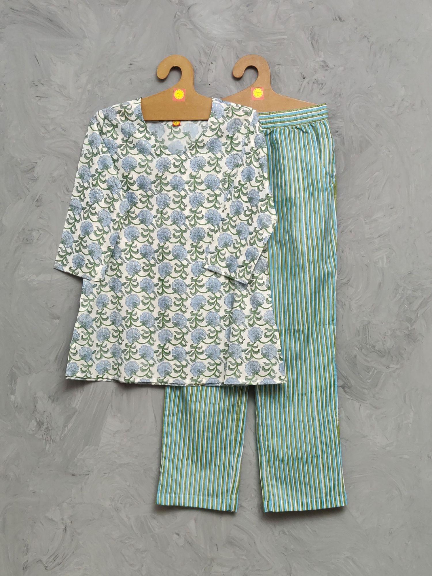 Cotton Handblock Print Night Suits WNS495