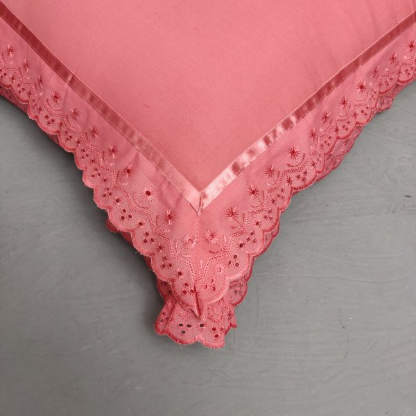 Double Lace Baby Pink Pillow Cover