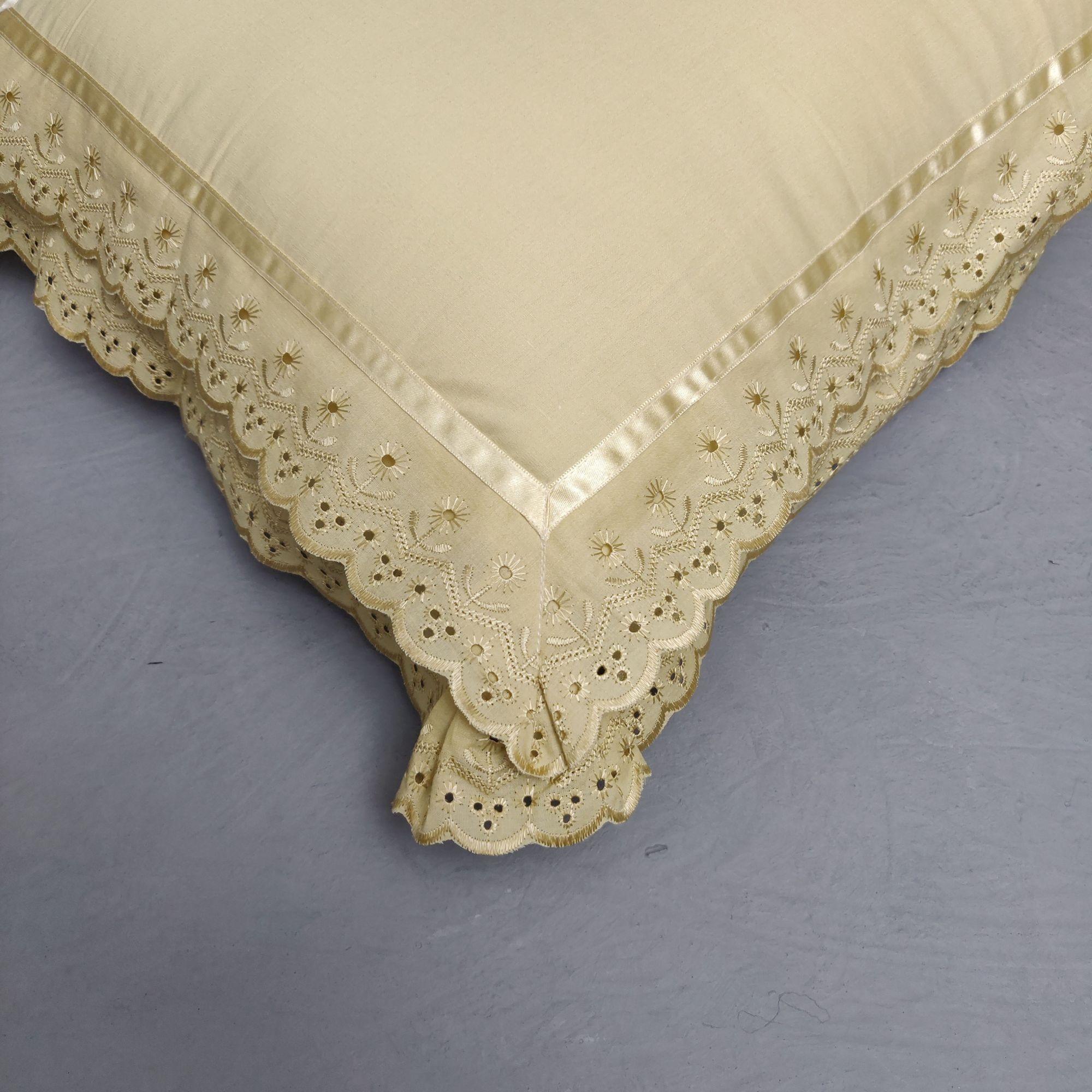 Double Lace Dark Fawn Pillow Cover