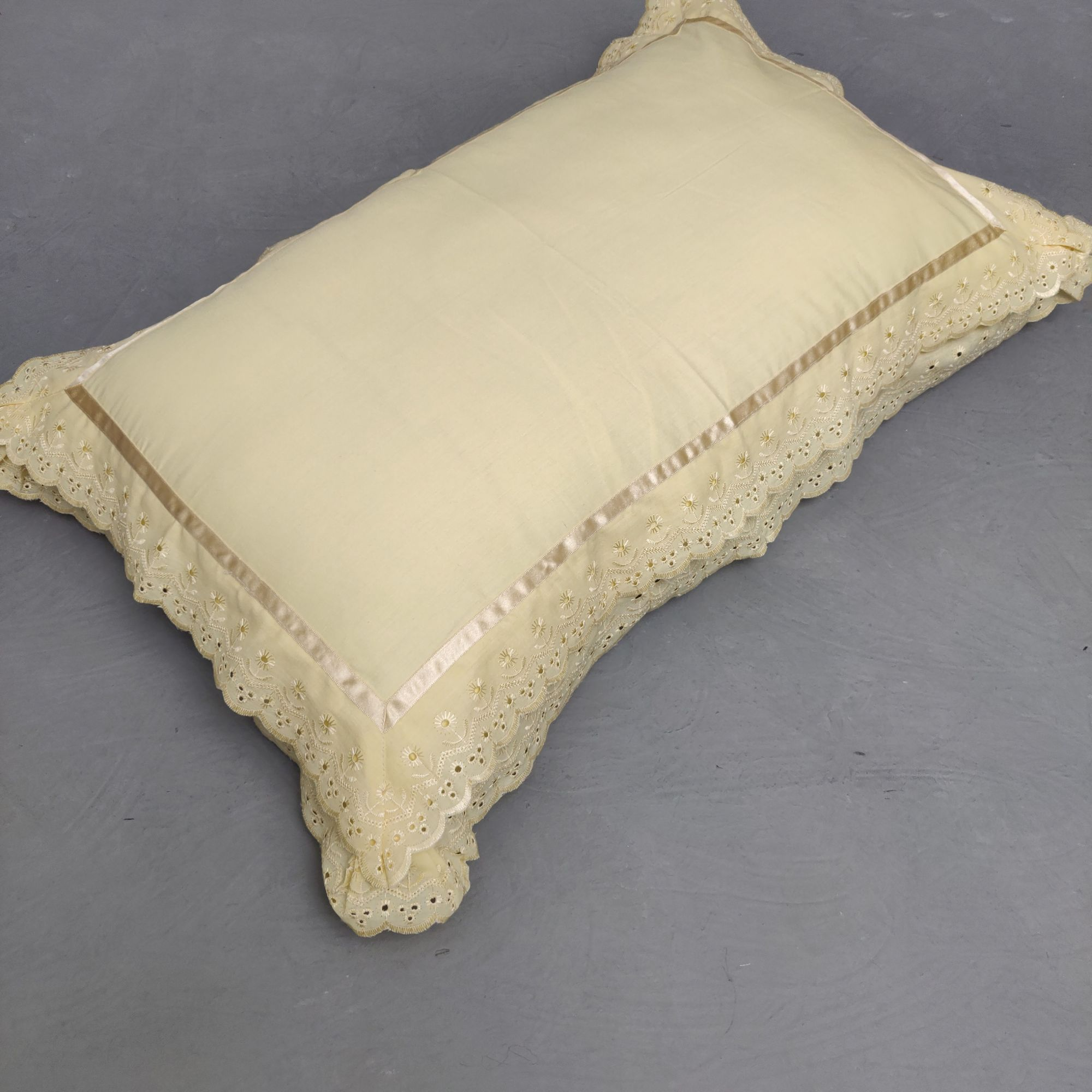 Double Lace Light Fawn Pillow Cover
