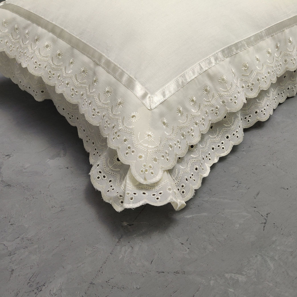 Double Lace Off White Pillow Cover