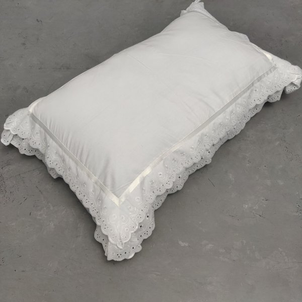 Double Lace White Pillow Cover