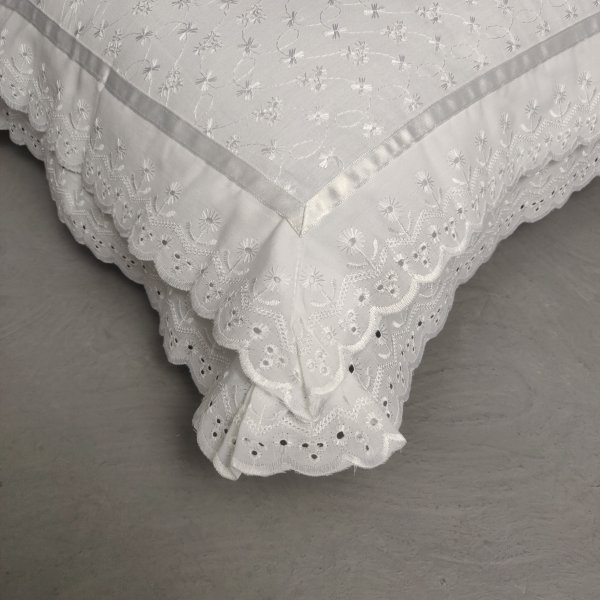 Chikankari Double Lace White Pillow covers