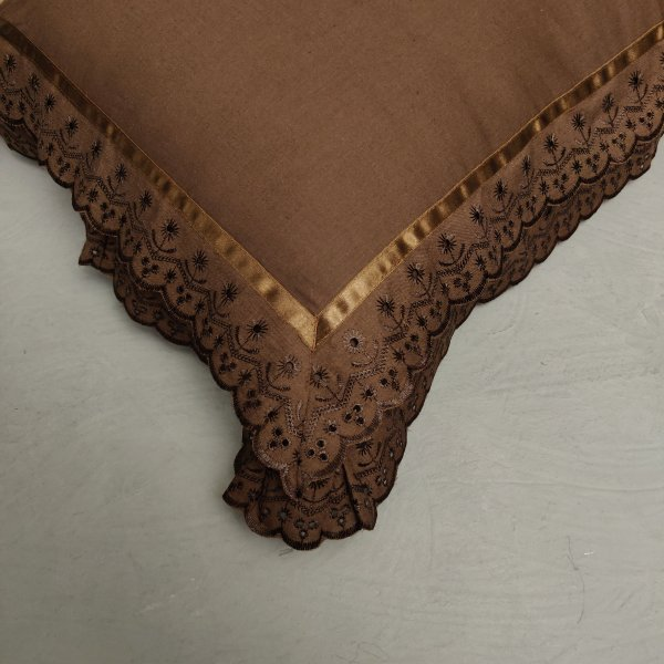 Double Lace Dark Coffee Brown Pillow Cover
