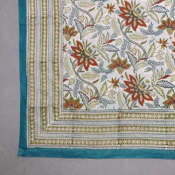 Printed Handblock Mulmul Single Size Quilt Cover QCP12
