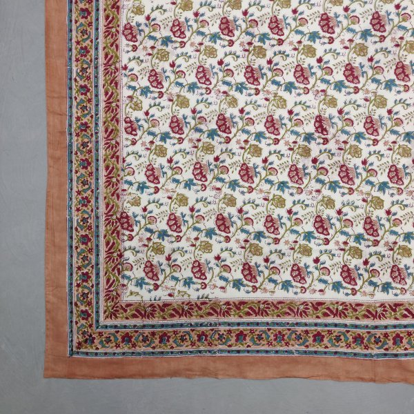 Printed Handblock Mulmul Single Size Quilt Cover QCP8