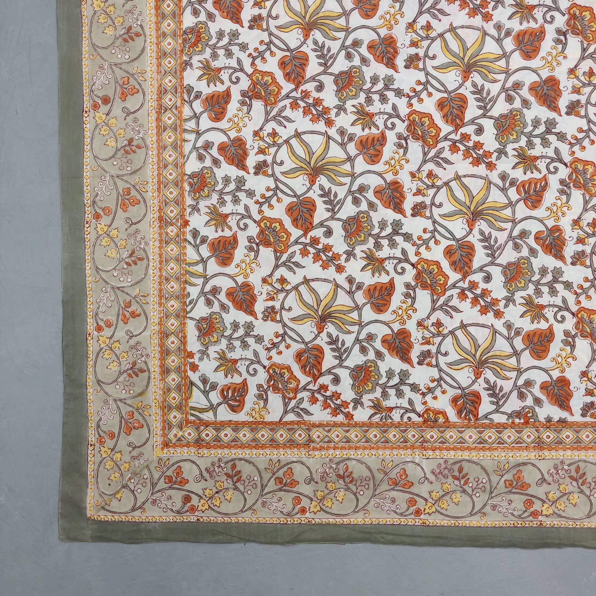 Printed Handblock Mulmul Single Size Quilt Cover QCP9