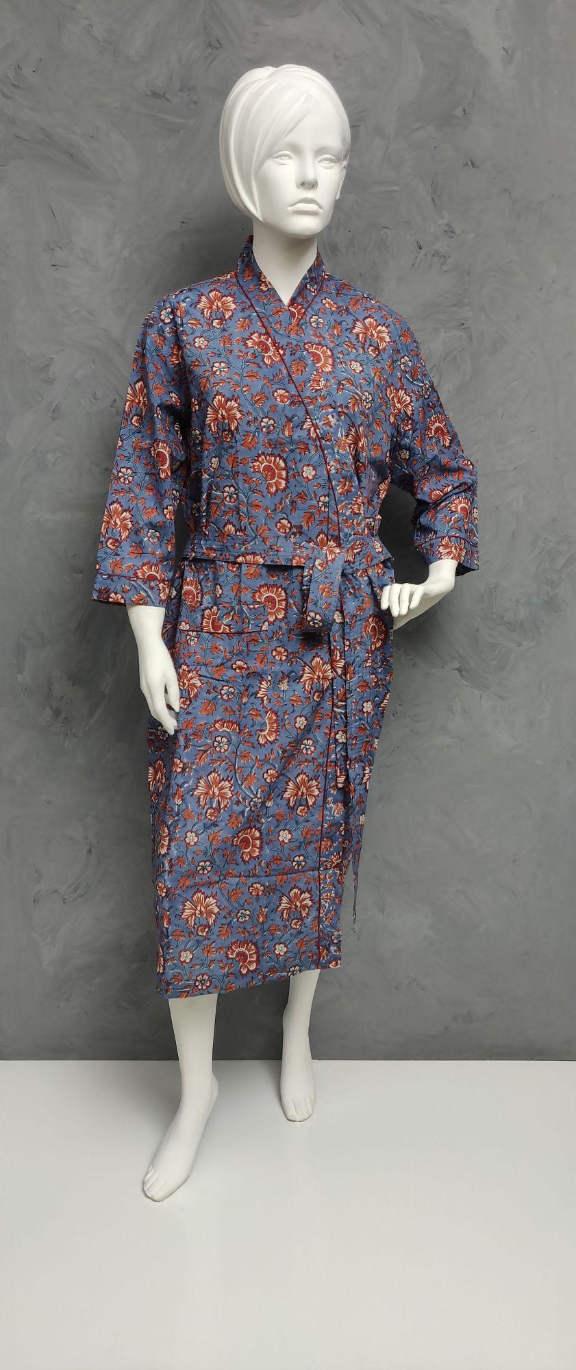 Handblock Housecoat/ Cotton Robe HCCR89