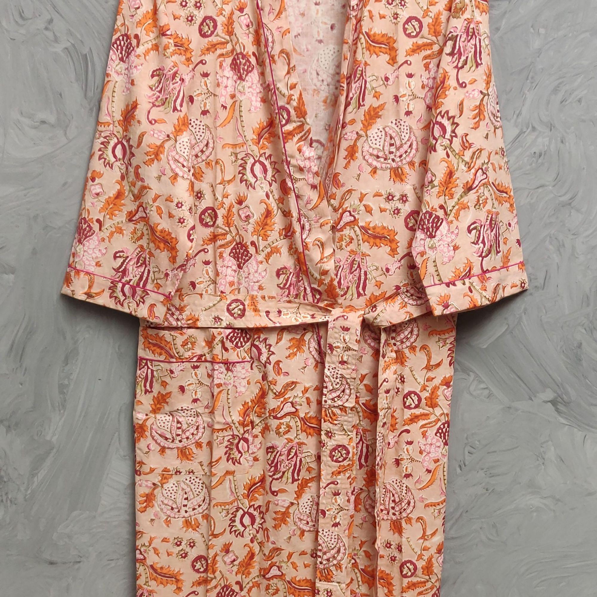 Handblock Housecoat/ Cotton Robe HCCR98