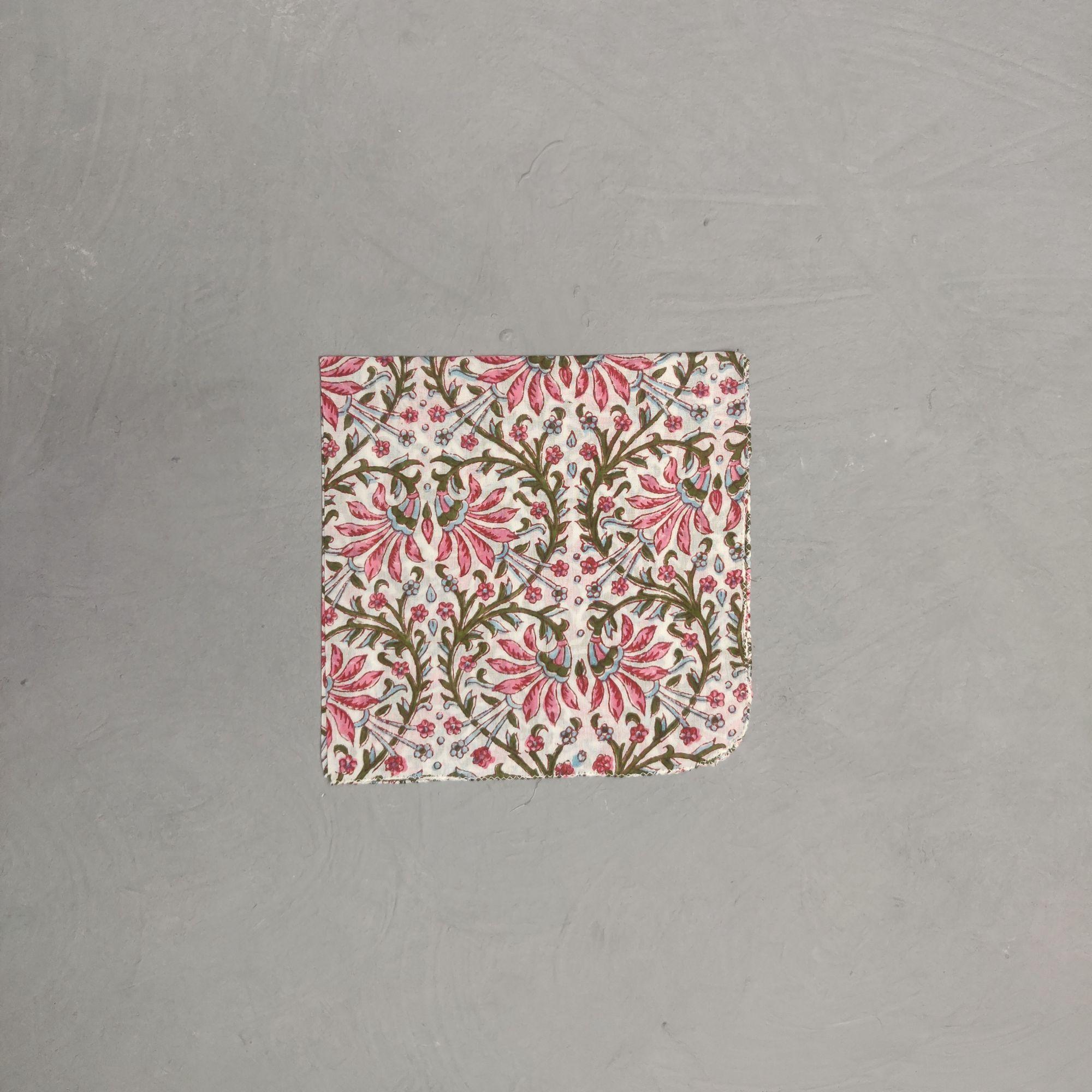 Handblock printed Handkerchief / Napkins WHH162