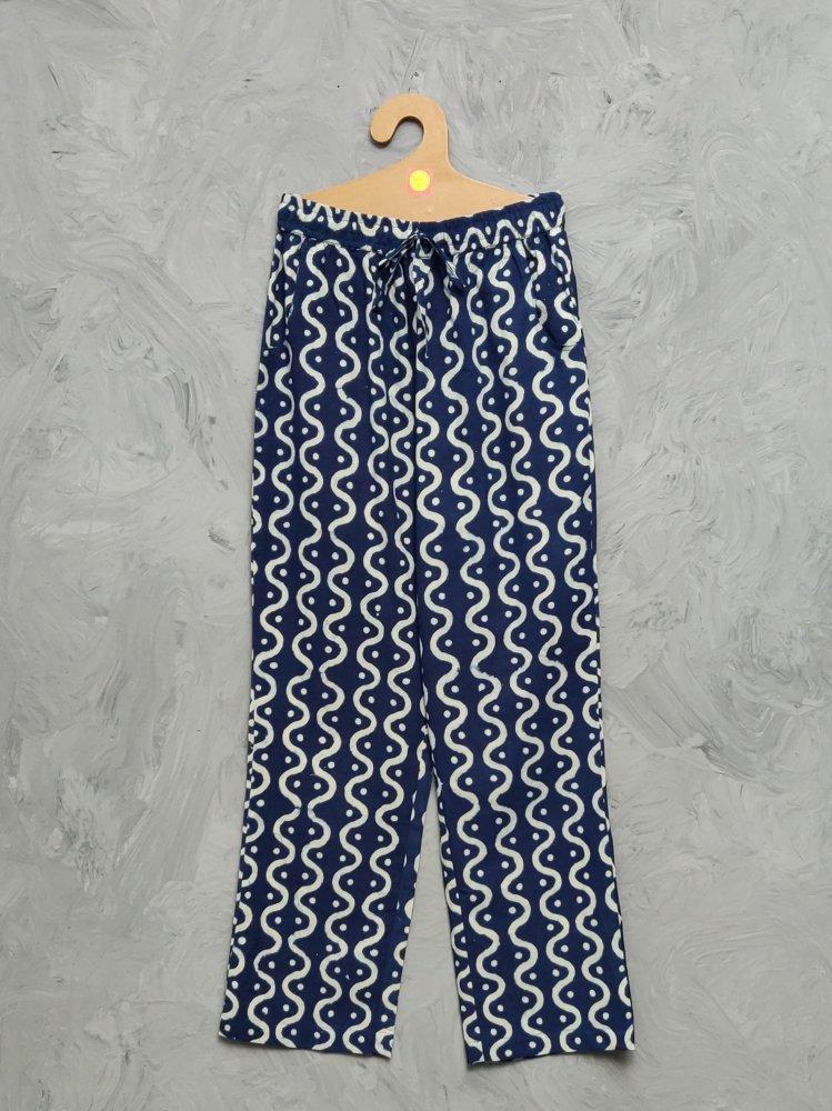 Indigo Handblock Printed Pyjama PYHBP12