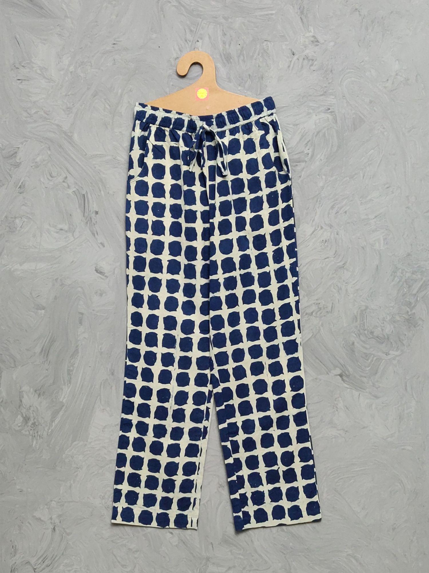 Indigo Handblock Printed Pyjama PYHBP13
