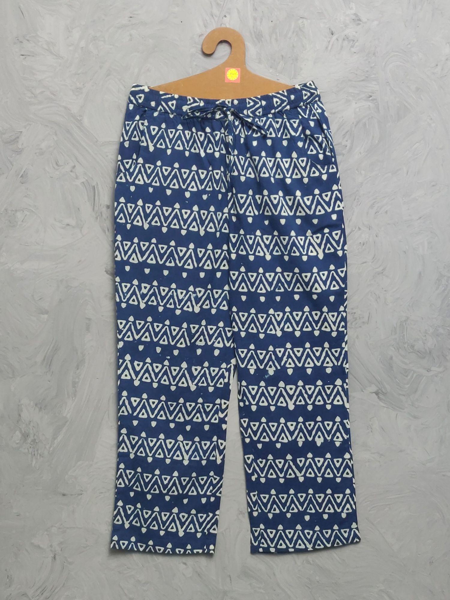 Indigo Handblock Printed Pyjama PYHBP16