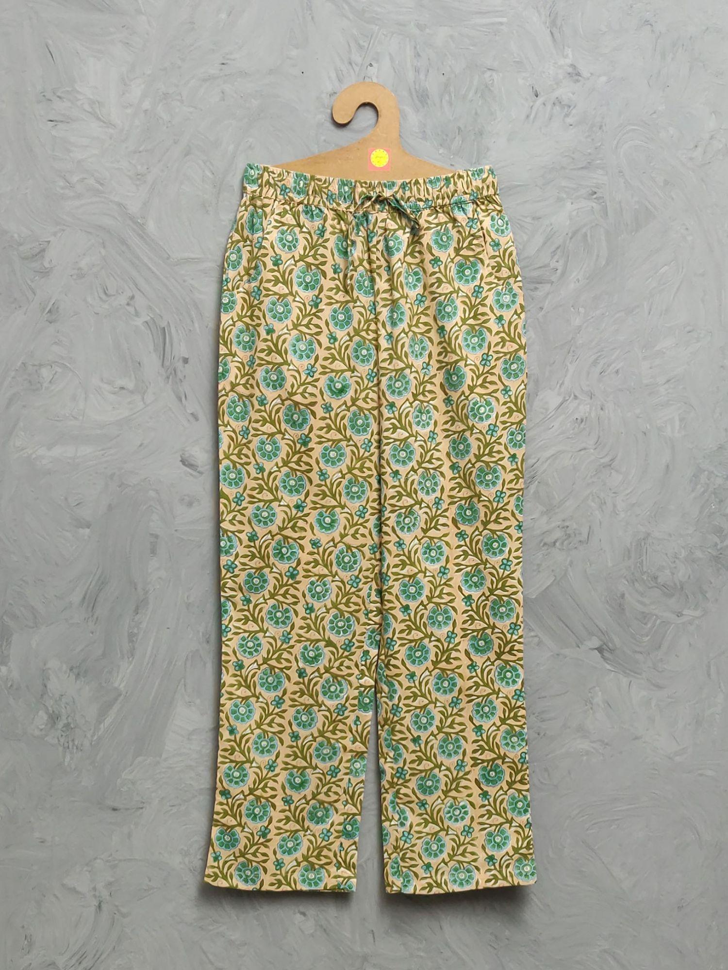 Multi Colour Handblock Printed Pyjama PYHBP29