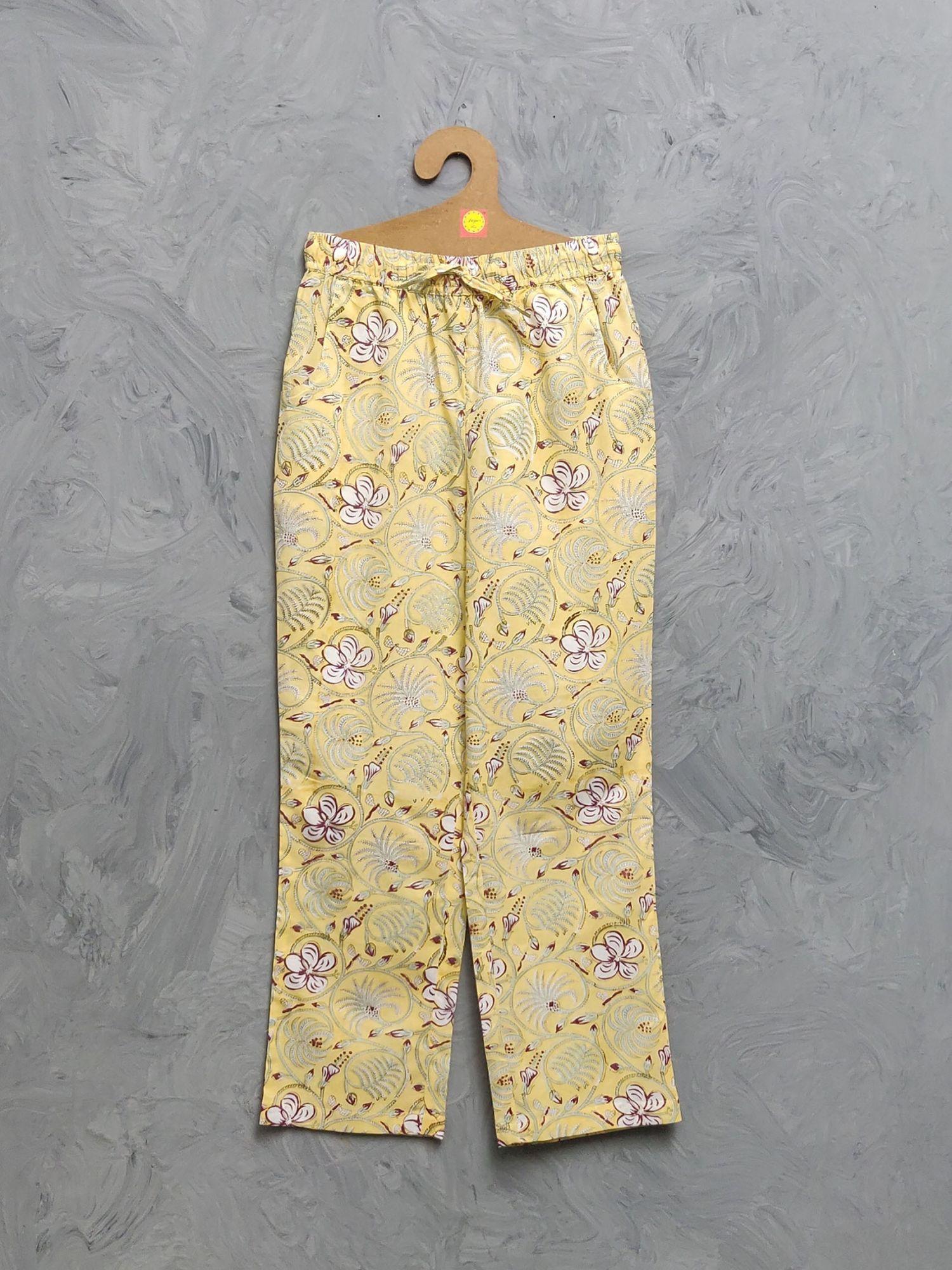 Multi Colour Handblock Printed Pyjama PYHBP30