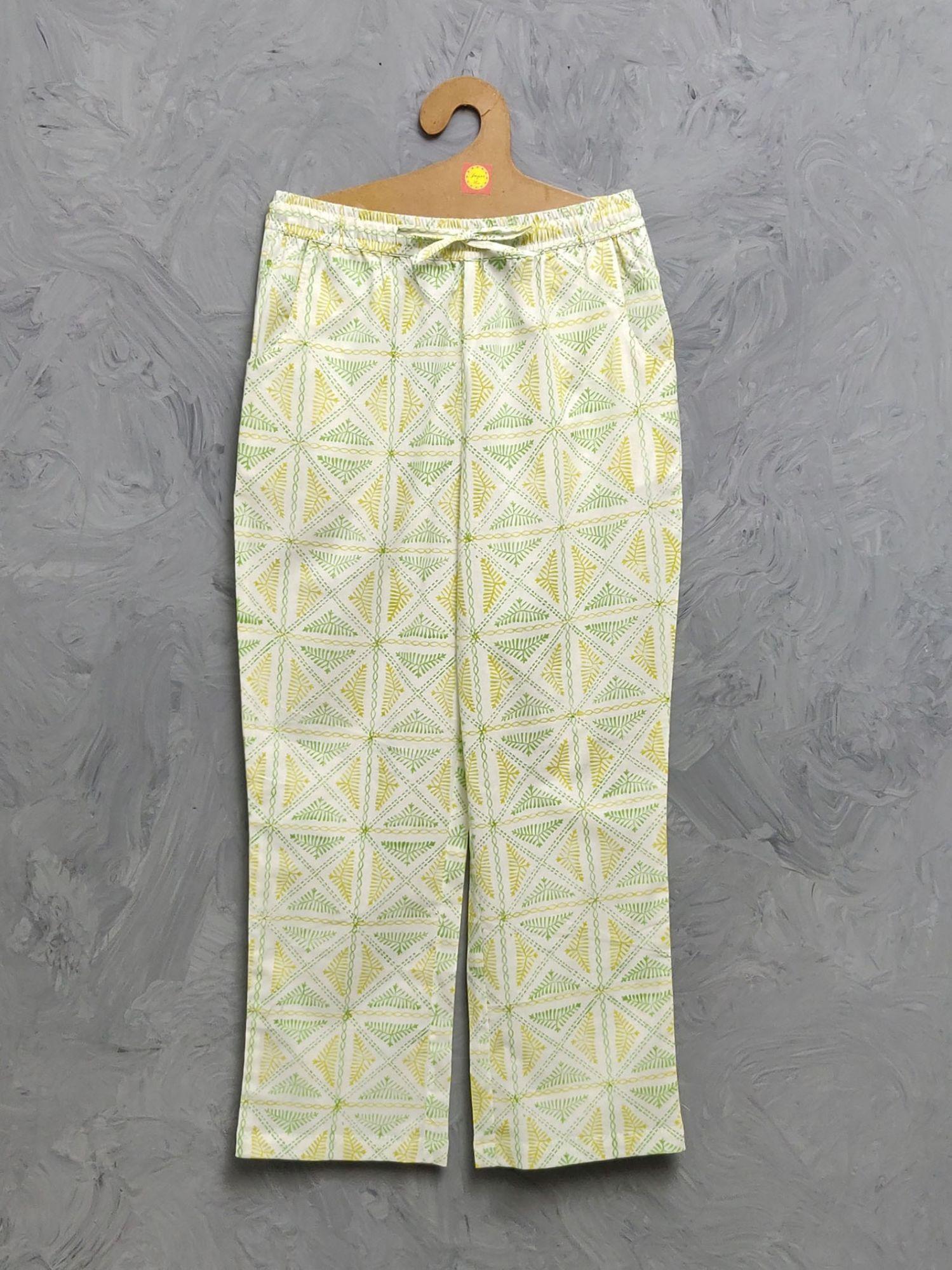 Multi Colour Handblock Printed Pyjama PYHBP34