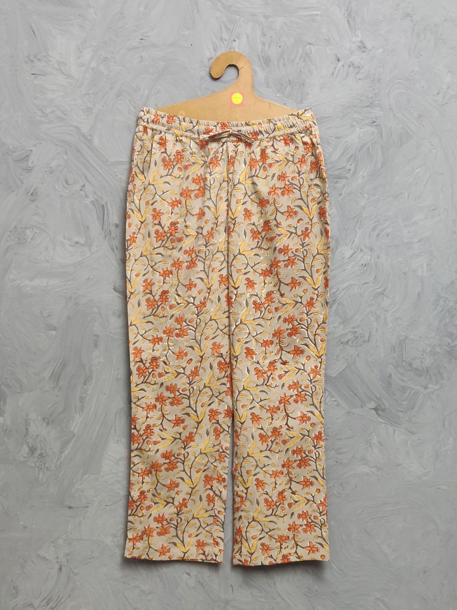 Multi Colour Handblock Printed Pyjama PYHBP37