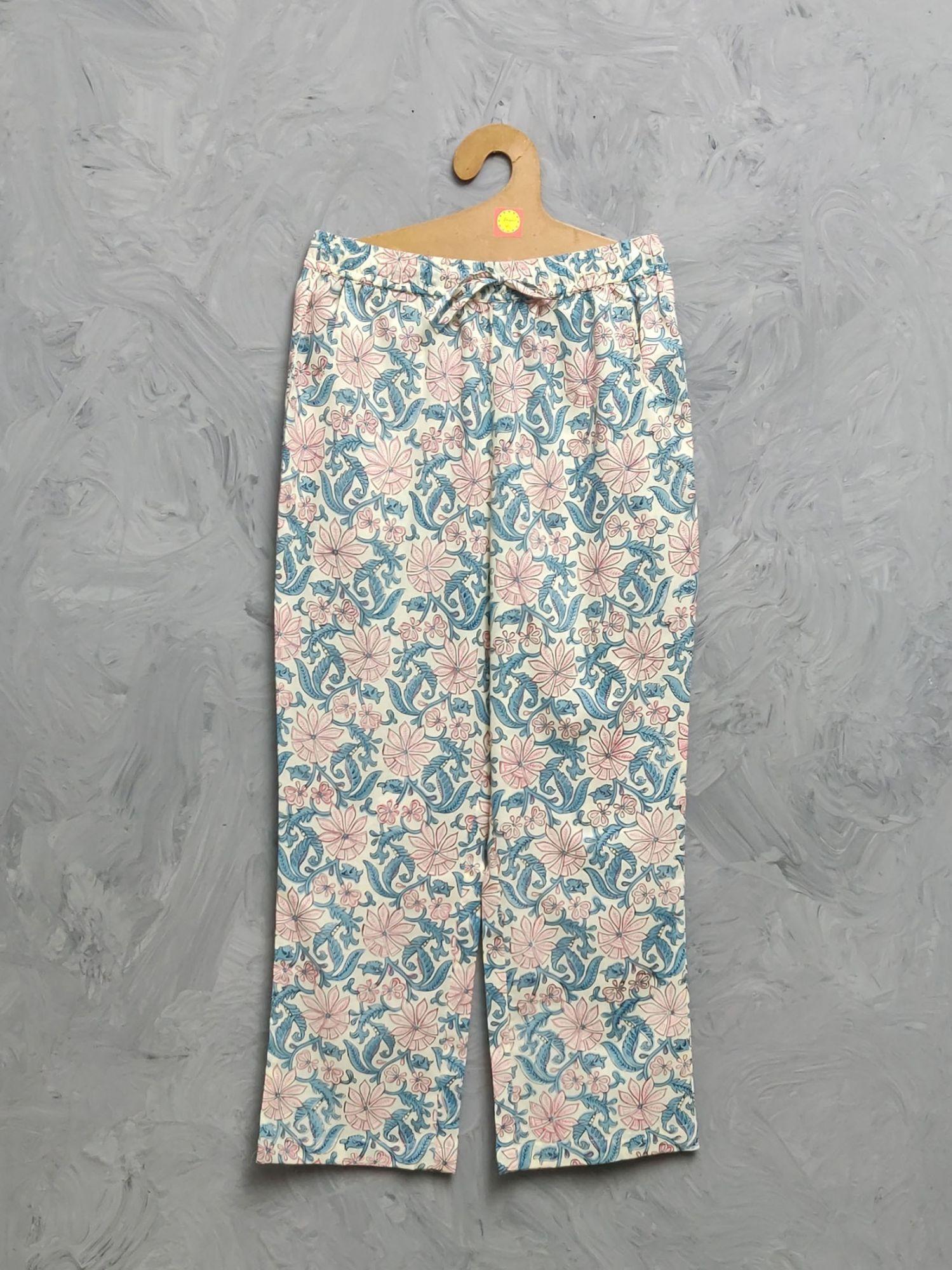 Multi Colour Handblock Printed Pyjama PYHBP38