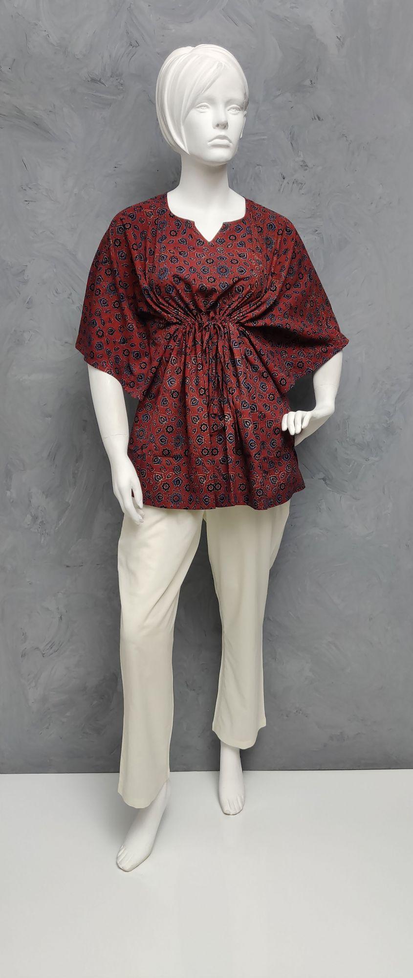 Ajrakh Floral Short Kaftan SK446