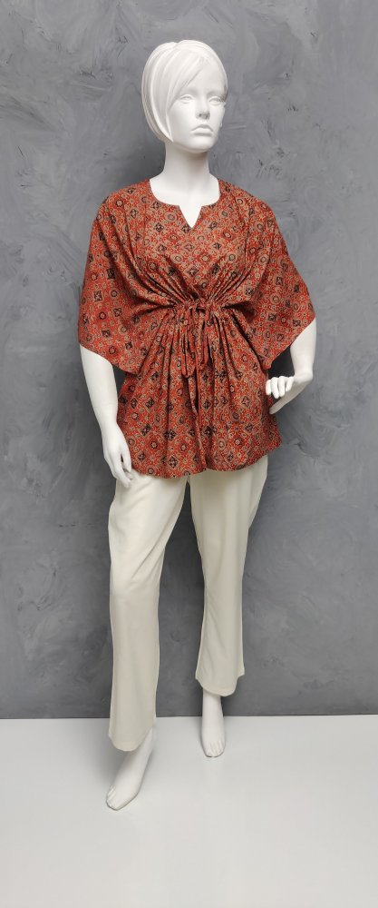 Ajrakh Floral Short Kaftan SK450