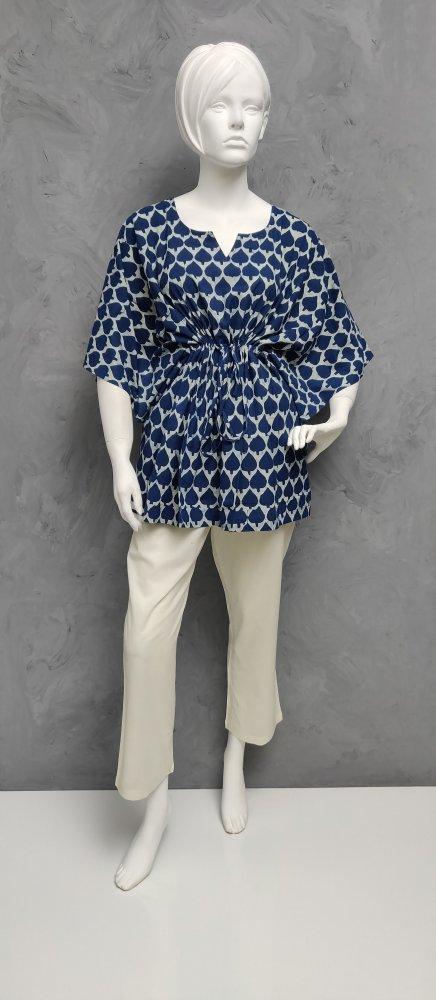 Indigo Floral Short Kaftan SK482