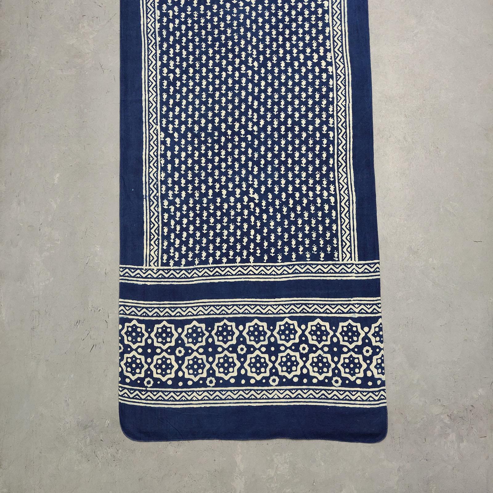 Handblock Printed Indigo Stole WST14