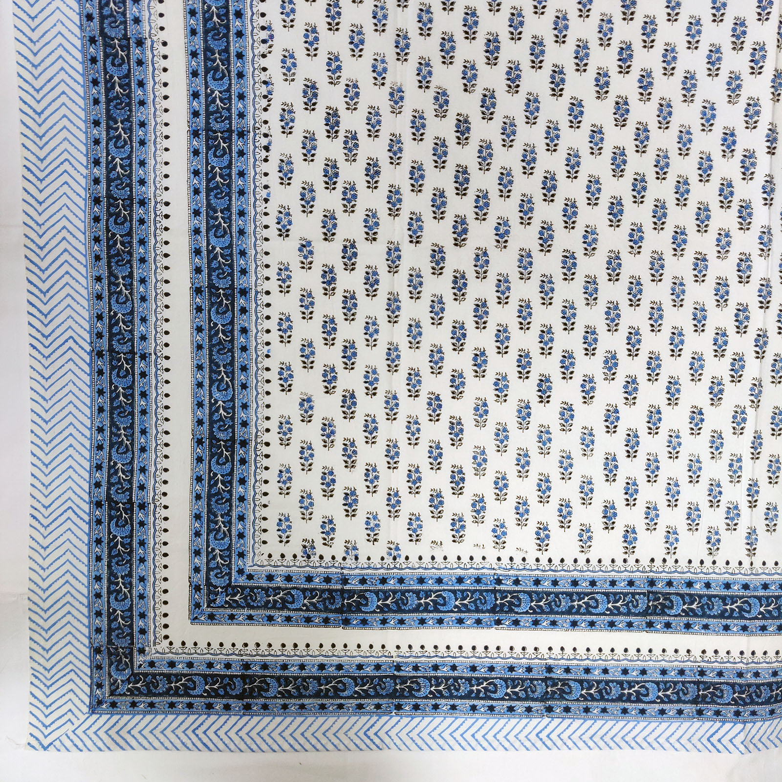 Small Blue Floral Buttas Single Bedsheet