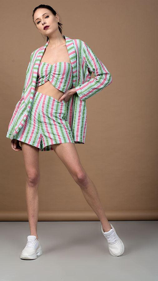 Multi Color Striped Co-ord (Jacket, Bandeau and shorts)