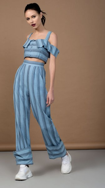 Pastel Blue Yarn Dyed Cotton Co-ord