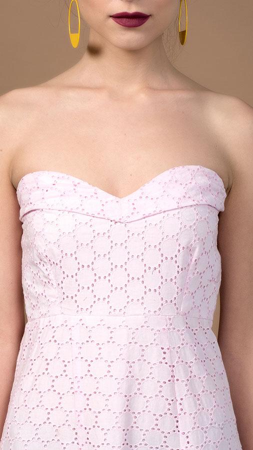Pink Cotton Schiffli Dress Long