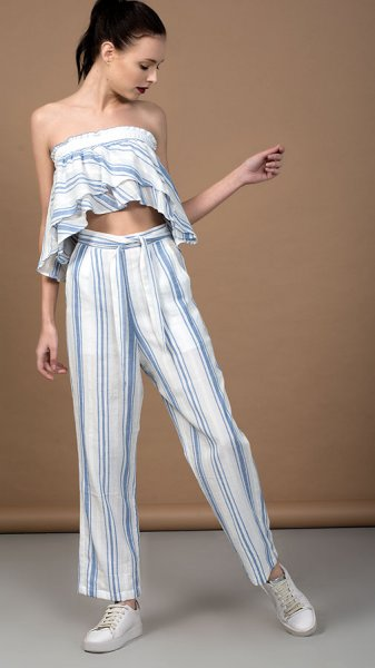 White and blue striped cotton co-ord