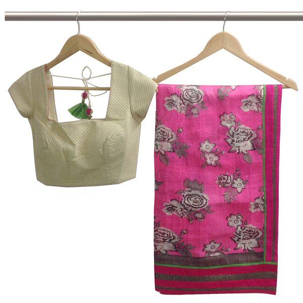 SR-printed Saree pink