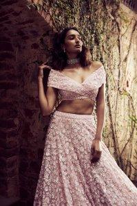 Powder Pink Sequins Lehenga Set