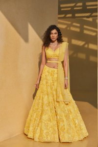 Three-Dimensional Yellow Floral Lehenga Set