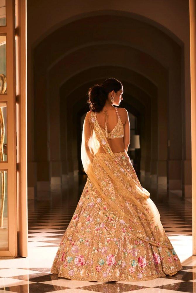 Gold Floral Lehenga Set