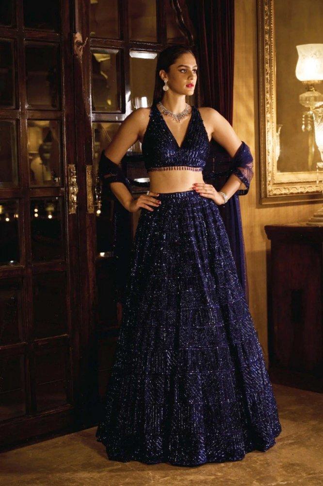 Cobalt Blue Sequin Lehenga Set